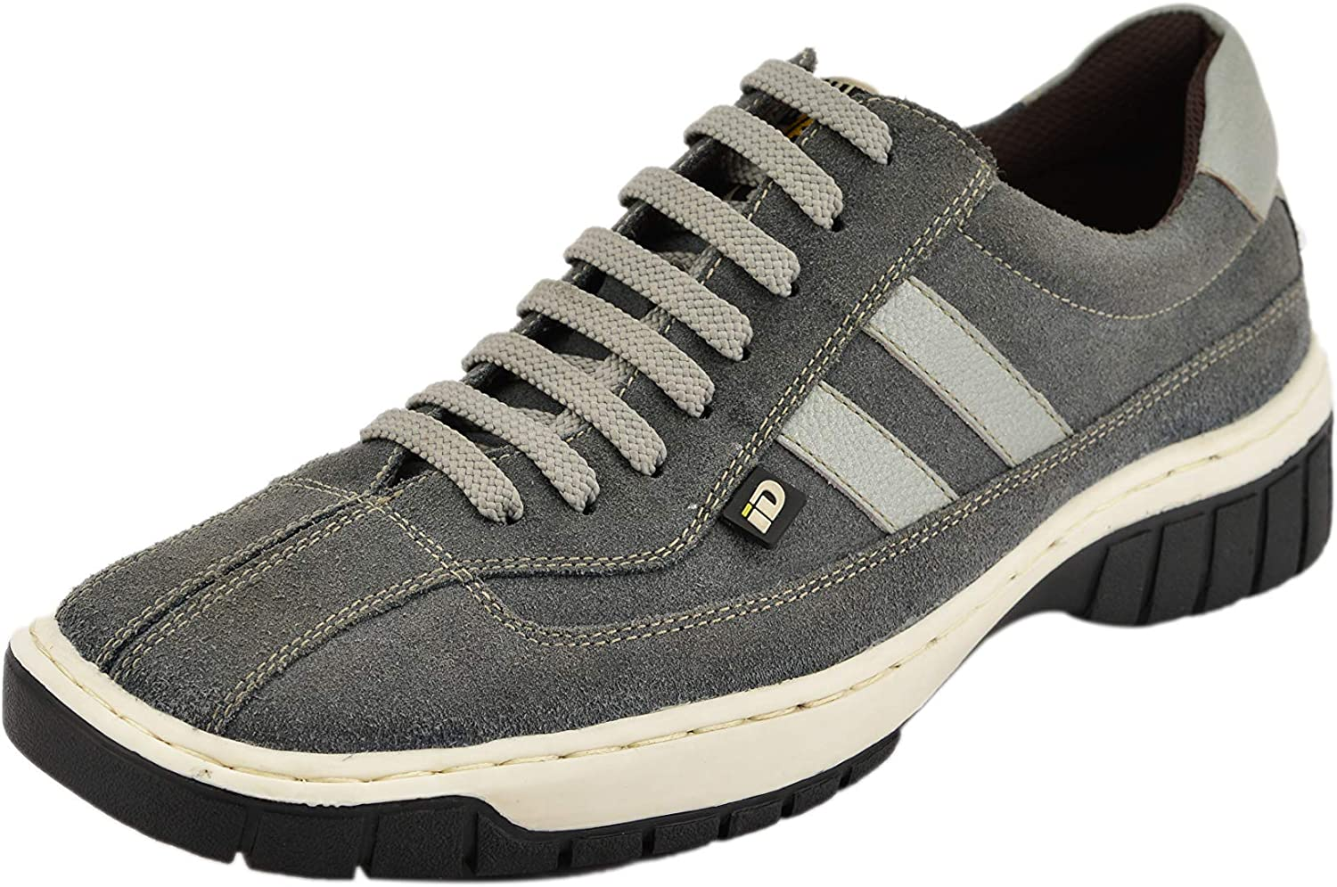 ID Men's Casual Genuine Leather Lace up Fashion Sneakers with Dual color Sole