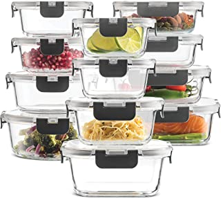 24-Piece Superior Glass Food Storage Containers Set - Newly Innovated Hinged BPA-free Locking lids - 100% Leakproof Glass ...