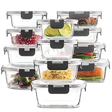 24-Piece Superior Glass Food Storage Containers Set - Newly Innovated Hinged BPA-free Locking lids - 100% Leak Proof Glass Meal Prep Containers, Great on-the-go & Freezer to Oven Safe Food Containers