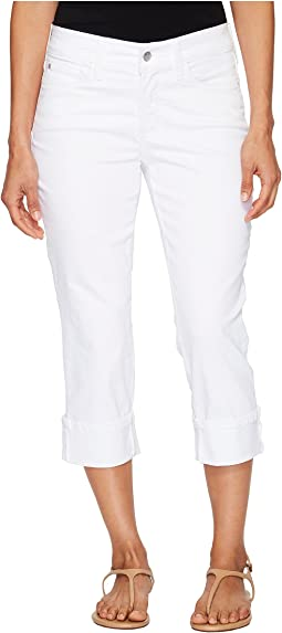 Petite Dayla Wide Cuff Capris in Optic White