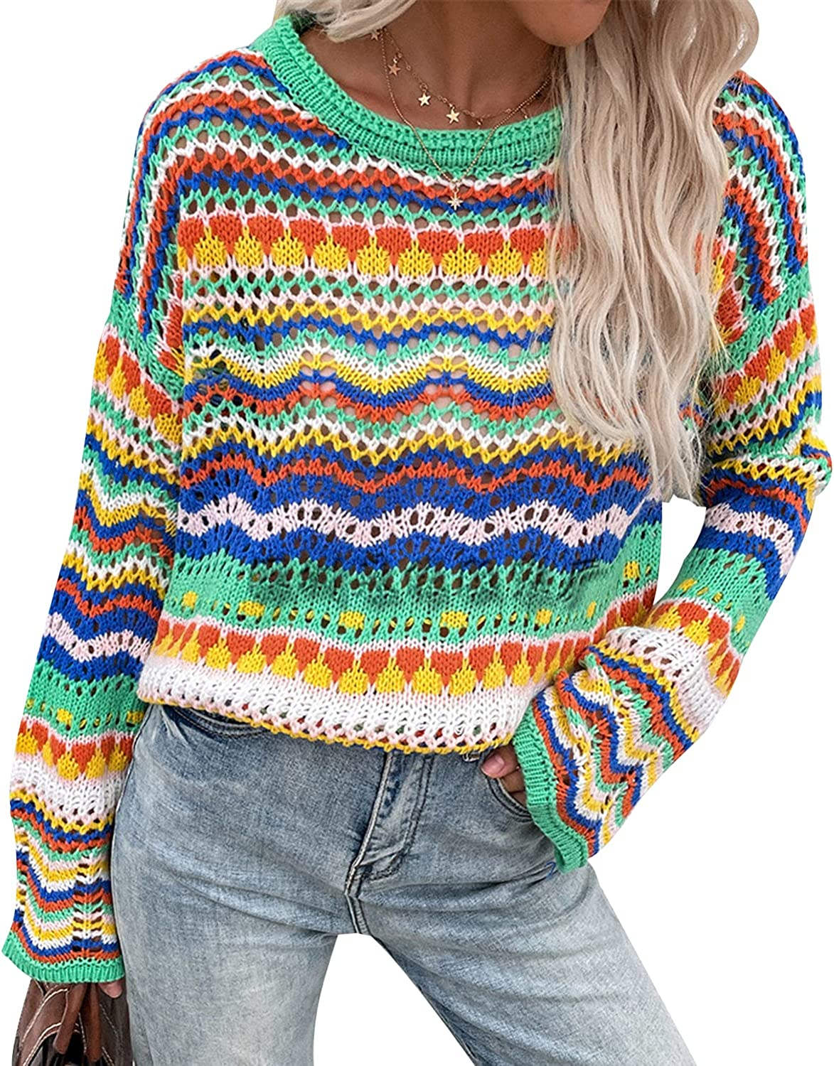 TWFRHC Women Long Sleeve Sweaters Crew Neck Rainbow Striped Pullover Casual Loose Knitted Top