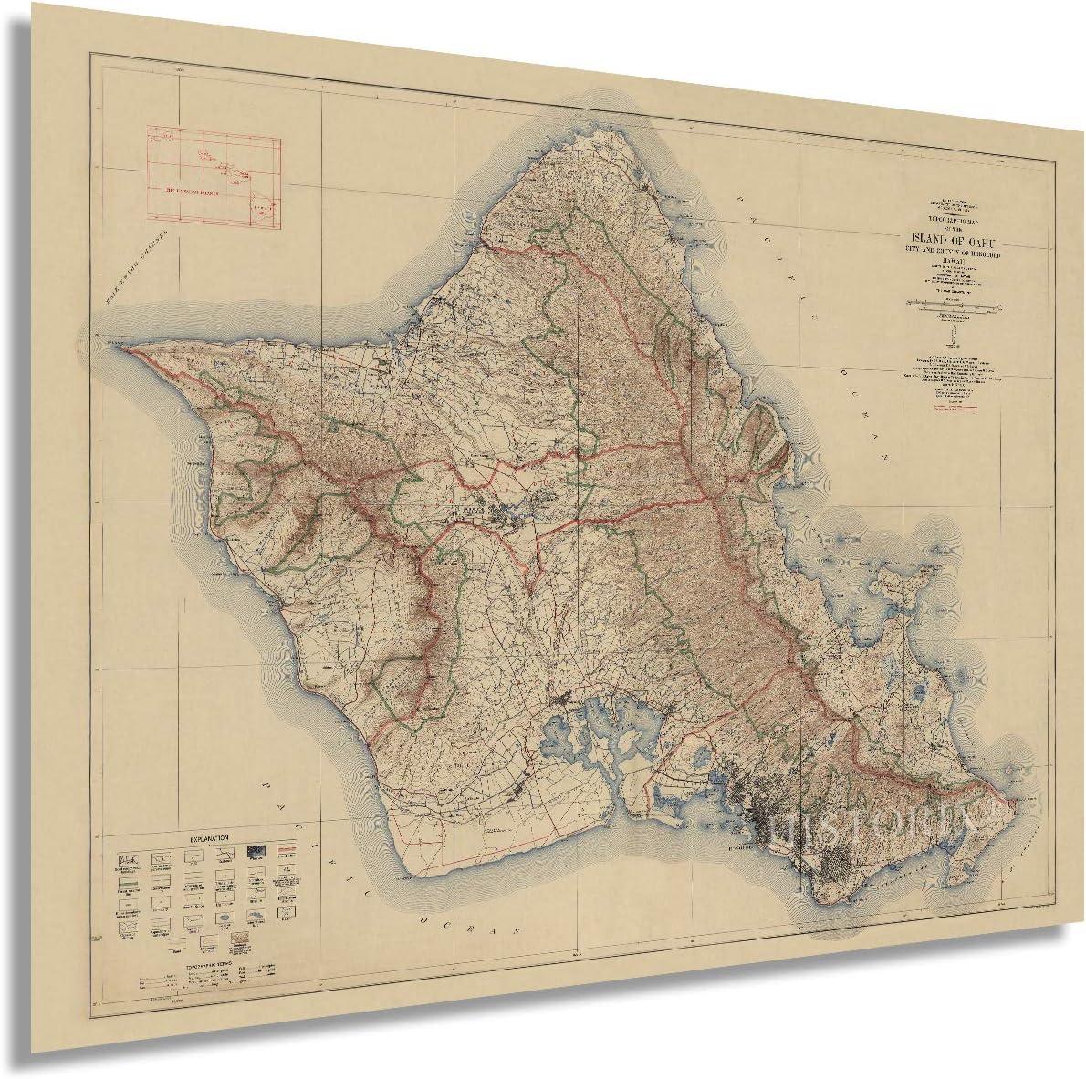 Historix Vintage 1938 In Max 65% OFF stock Island of Oahu Inch - Hawai Map 18x24
