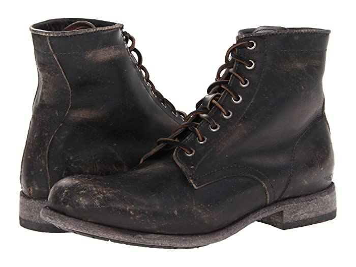 Men's Steampunk Clothing, Costumes, Fashion Frye Tyler Lace Up Black Stone Wash Mens Lace-up Boots $295.99 AT vintagedancer.com