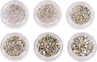 Zealer 1800pcs Crystals AB Nail Art Rhinestones Round Beads Top Grade Flatback Glass Charms Gems Stones for Nails Decoration Crafts Eye Makeup Clothes Shoes 300pcs Each (Mix SS3 4 5 6 8 10)
