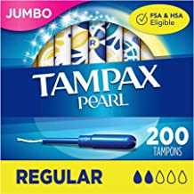 Sponsored Ad - Tampax Pearl Tampons with Plastic Applicator, Regular Absorbency, 50 Count (Pack of 4)