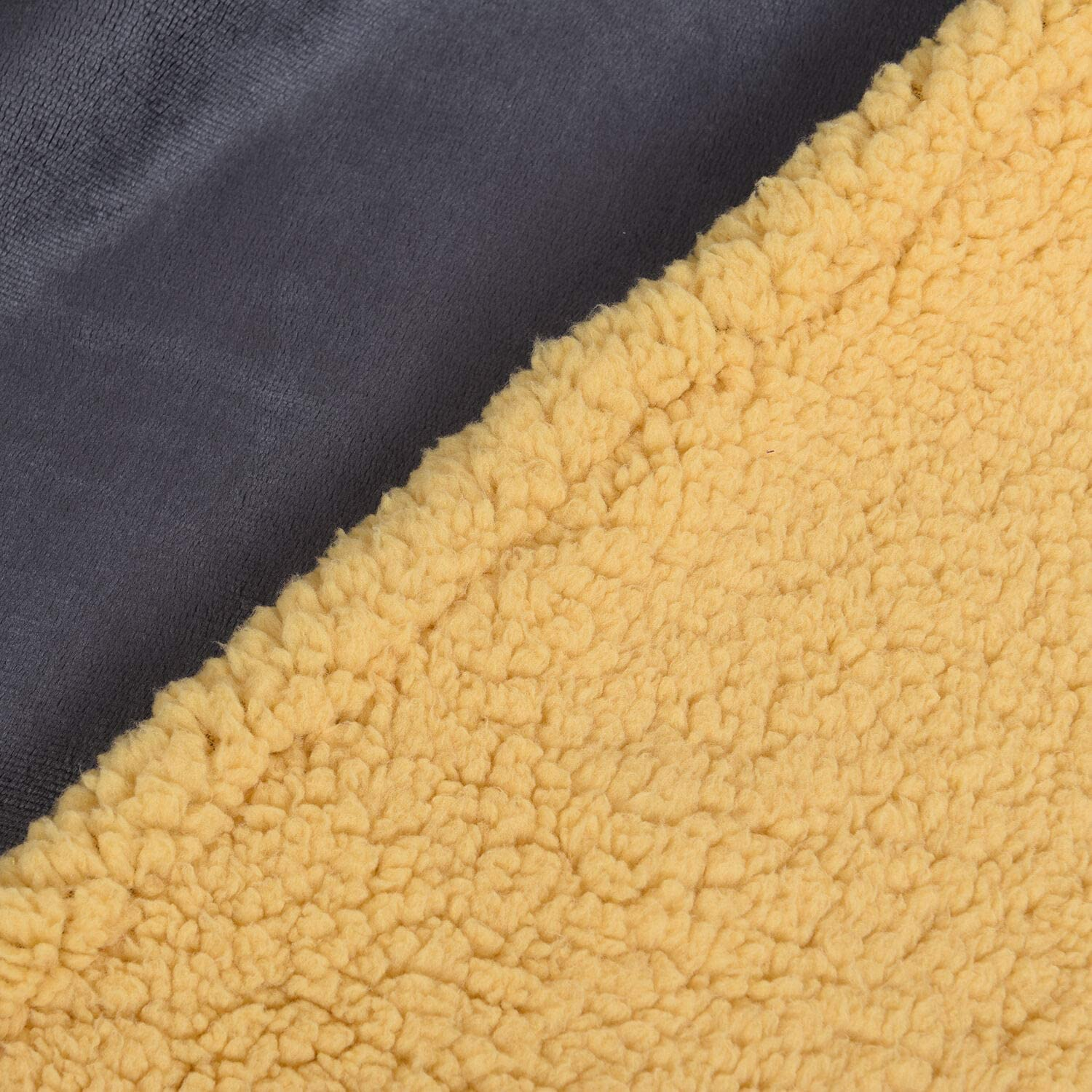 TJC Serenity Night Double Layr Dark Grey and Yellow Sherpa Blanket Size 200x150cm