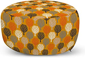 Lunarable Trees Ottoman Pouf, Continuous Twigs of Forest Symbols Abstract Theme of Illustration Print, Decorative Soft Foot Rest with Removable Cover Living Room and Bedroom, Orange Purpleblue White