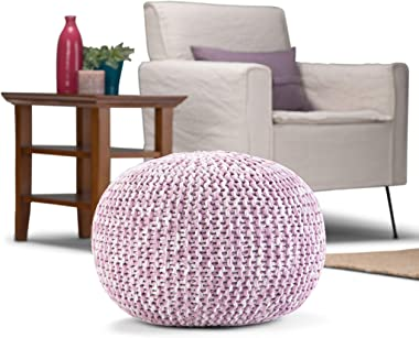 SIMPLIHOME Ashlynn Round Hand Knit Pouf, Footstool, Upholstered in Lilac Cotton, for the Living Room, Bedroom and Kids Room,
