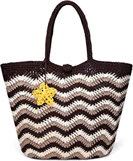 Daisy Rose Large Handmade Crochet Summer Beach Tote Bag with Inner Pouch