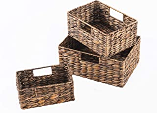 SLPR Natural Rubbed Dark Brown Water Hyacinth Storage Baskets Bins (with Handles, Set of 3) | Organizer Storage Container for Laundry Pantry Bathroom Office