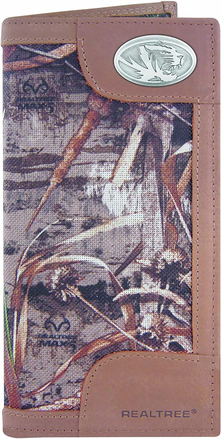 ZEP-PRO NCAA mens Zep-pro Realtree Nylon and Leather Secretary-style Roper Concho Wallet