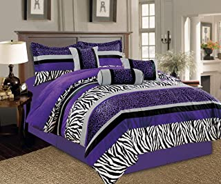 5 Piece Oversize Light PURPLE Black White Zebra Leopard Micro Fur Comforter set Twin Size Bedding - Teen, Girl, youth, Tween, Children's Room, Master Bedroom, Guest Room