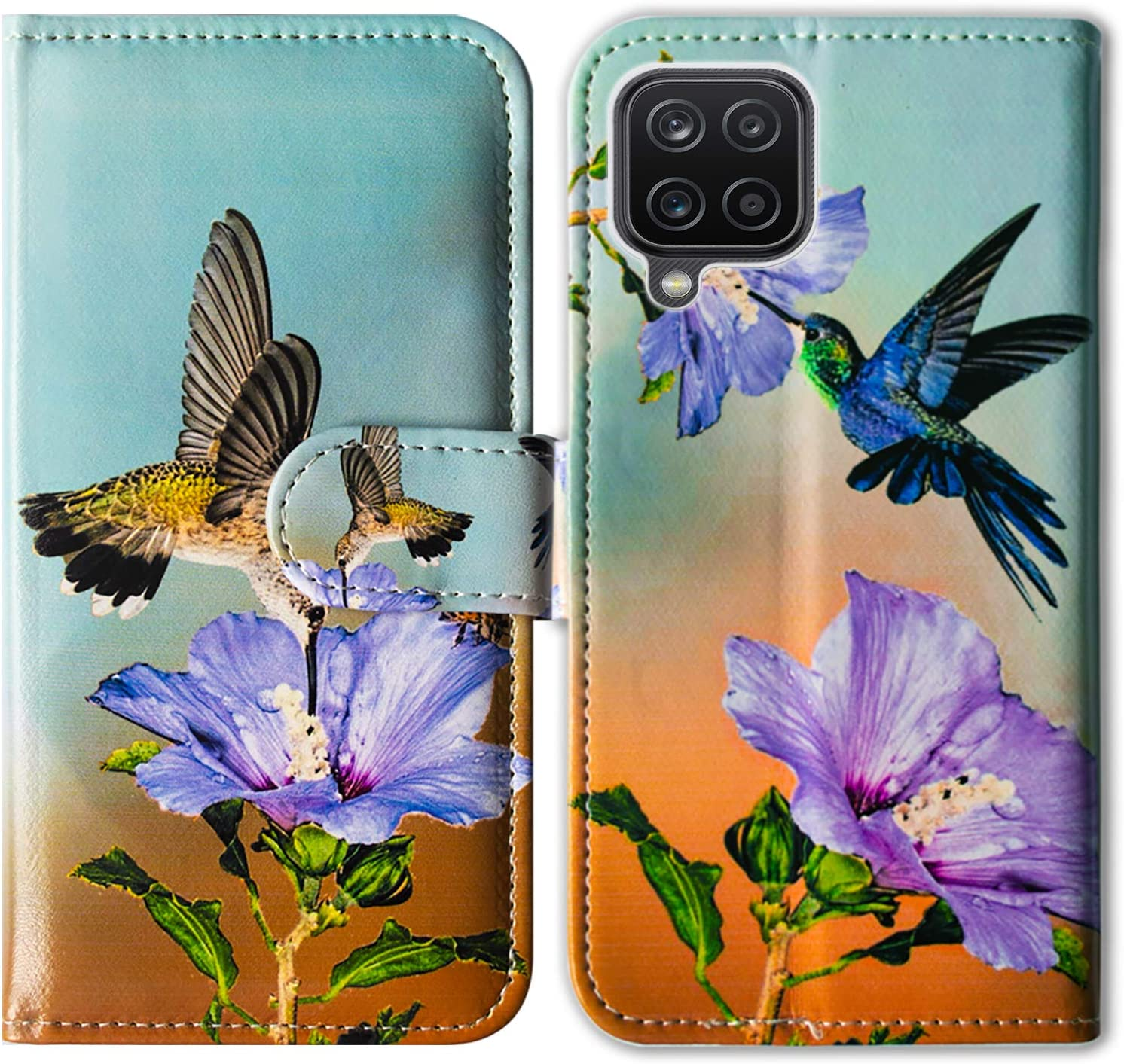 Galaxy A12 Case,Bcov Hummingbird Purple Flower Leather Flip Phone Case Wallet Cover with Card Slot Holder Kickstand for Samsung Galaxy A12 2021