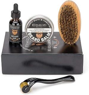 Ebeizi Baard Grooming Kit voor mannen, baard derma roller voor mannen baard groei, inclusief baard olie, baard balsem, baa...