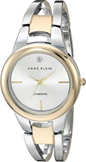 Anne Klein Women's AK/2629SVTT Diamond-Accented Dial Two-Tone Open Bangle Watch