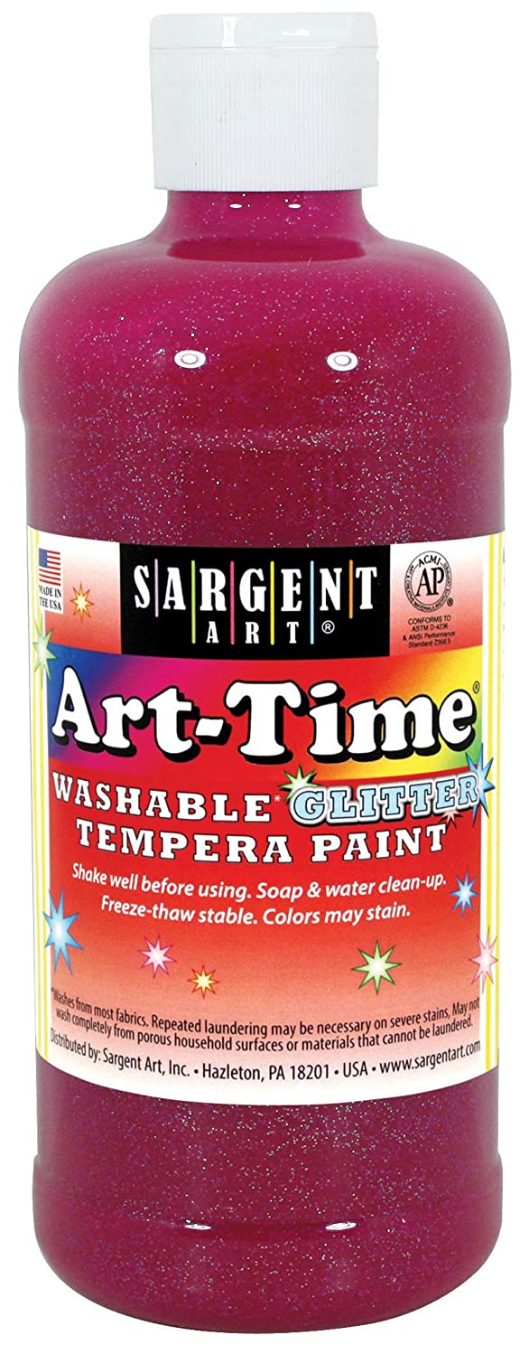 Sargent Art 17-3738 16 Ounce Art-Time Washable Glitter Tempera Paint, Magenta