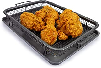 EaZy MealZ EZA-100C2 Perfectly Crisp, Less Fat, Nonstick Crisper Basket + Cookie Sheet set for Oven, oberdome plus, oberdome bbq, Gray