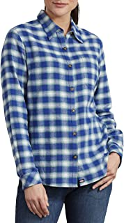 Dickies Women's Long-Sleeve Plaid Flannel Shirt, Flame/Dockside Blue, Extra Large