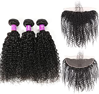 SHILINWEI Brazilian Kinky Curly 3 Bundles With Frontal Remy Human Hair Weave Lace Frontal Closure With Bundles 4 Pcs/Lot,20 & 22 & 24 & Closure 18,Natural Color,Three Part