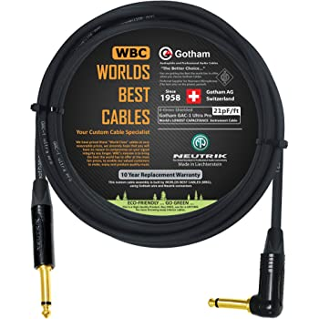 10 Foot - Gotham GAC-1 Ultra Pro - Premium Low-Cap (21 pf/F) Guitar Bass Instrument Cable – w/Neutrik Gold Straight to Angled ¼ inch (6.35mm) TS Connectors - Custom Made by WORLDS BEST CABLES