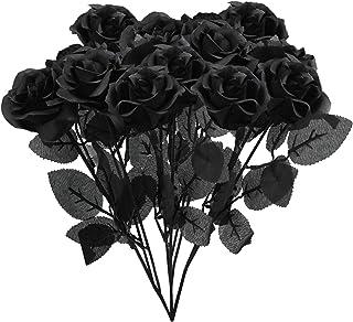 Uieke 10Pcs Artificial Silk Rose Flowers Bouquet Fake Roses Black Rose Flowers UV Resistant Floral Arrangement for Indoor ...