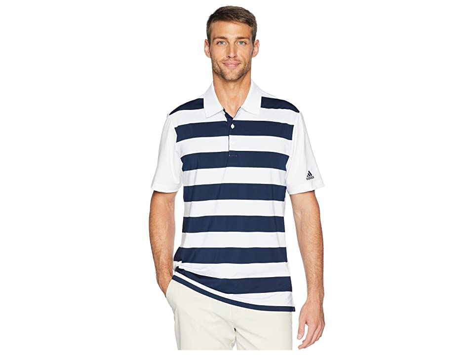 adidas Golf Ultimate Rugby Stripe Polo (White/Collegiate Navy) Men