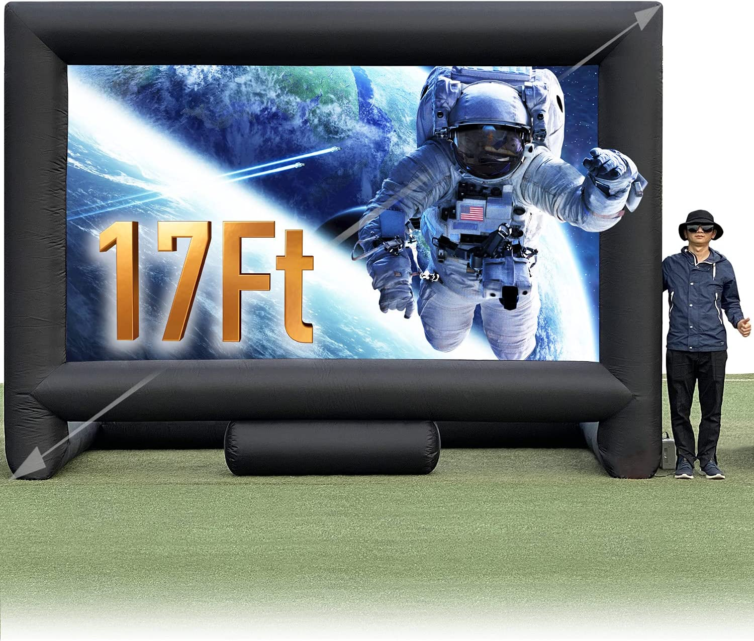 Sewinfla 17Ft Outdoor and Indoor Inflatable Movie Projector Screen with Blower, Supports Front and Rear Projection, Blow Up Mega Movie Screen for Party, Easy to Set Up