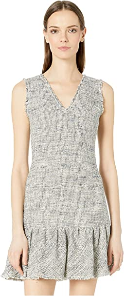 Sleeveless Tweed V-Neck Dress