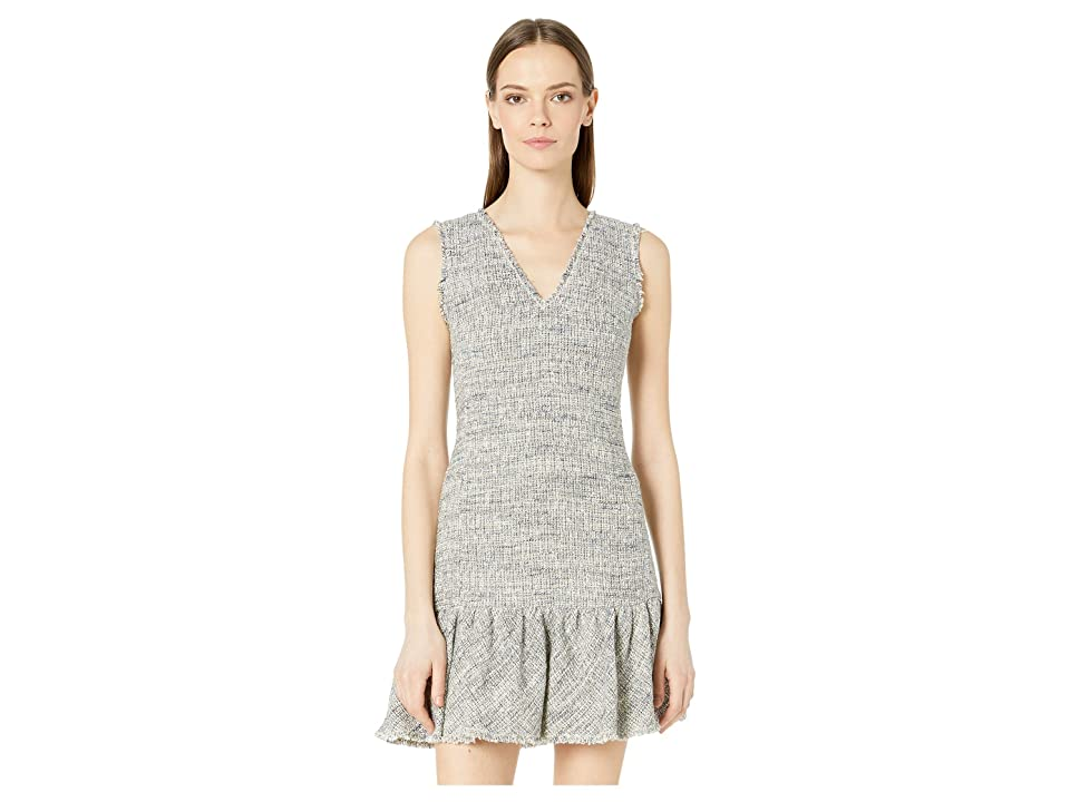 Rebecca Taylor Sleeveless Tweed V-Neck Dress (Blue/Grey Combo) Women