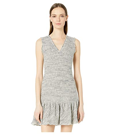 Rebecca Taylor Sleeveless Tweed V-Neck Dress (Blue/Grey Combo) Women