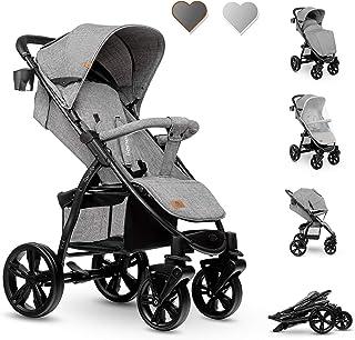 Lionelo Annet Buggy med liggfunktion barnvagn liten hopfällbar Eva-skumhjul myggnät fottäcke mugghållare korg (koncrete)