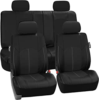 Best FH Group PU008114 Highest Grade Faux Leather Seat Covers (Black) Full Set – Universal Fit for Cars Trucks & SUVs Review
