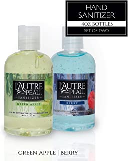 Antibacterial Hand Sanitizer Gel with Aloe Vera by L'AUTRE PEAU - Lightly Scented Liquid Instant Hand Cleaner (Green Apple & Berry, 4 oz)