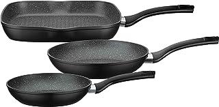 GSW 209359 Gourmet Granit - Juego de sartenes (3 unidades, aluminio y plástico), color negro