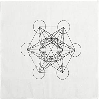 QGEM Printed Cotton Metatron's Cube Sacred Geometry Crystal Grids Altar Cloth, Healing Spiritual Reiki Metaphysical