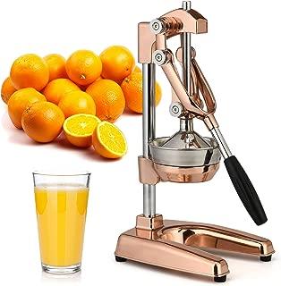 Zulay Professional Citrus Juicer - Premium Rose Gold Manual Citrus Press and Orange Squeezer - Metal Lemon Squeezer - Extra Tall Heavy Duty Manual Orange Juicer and Lime Squeezer Press Stand