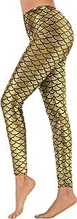 Digital Print Mermaid Fish Scale Stretch Leggings Pant for Women S-3XL