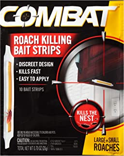 Combat Roach Killing Bait Strips for Large and Small Roaches, Indoor and Outdoor Use, 10 Count