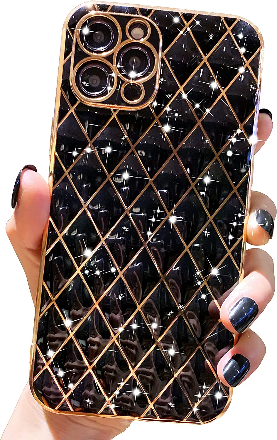 Anynve Compatible with iPhone 11 Pro Max Case, Glitter Sparkle Luxurly Plating Lattice Case, Full Camera Lens Protection Shockproof Edge Bumper TPU Cover for iPhone 11 Pro Max [6.5 inches] -Black