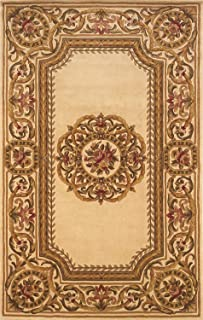 Momeni HARMOHA-12IVY500R Harmony Collection Area Rug, 5' x 5' Round, Ivory