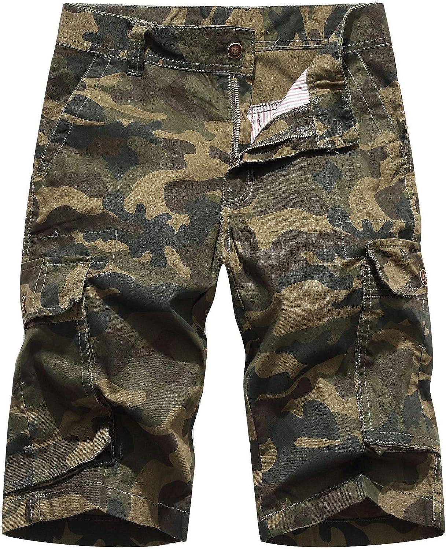 Elonglin Men's Cotton Cargo Shorts Camo Print Summer Beach Shorts Multi Pockets