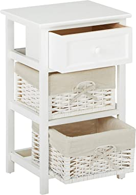 JAXPETY White Night Stand 3 Tiers 1 Drawer Bedside End Table Organizer Wood W/2 Baskets (White)