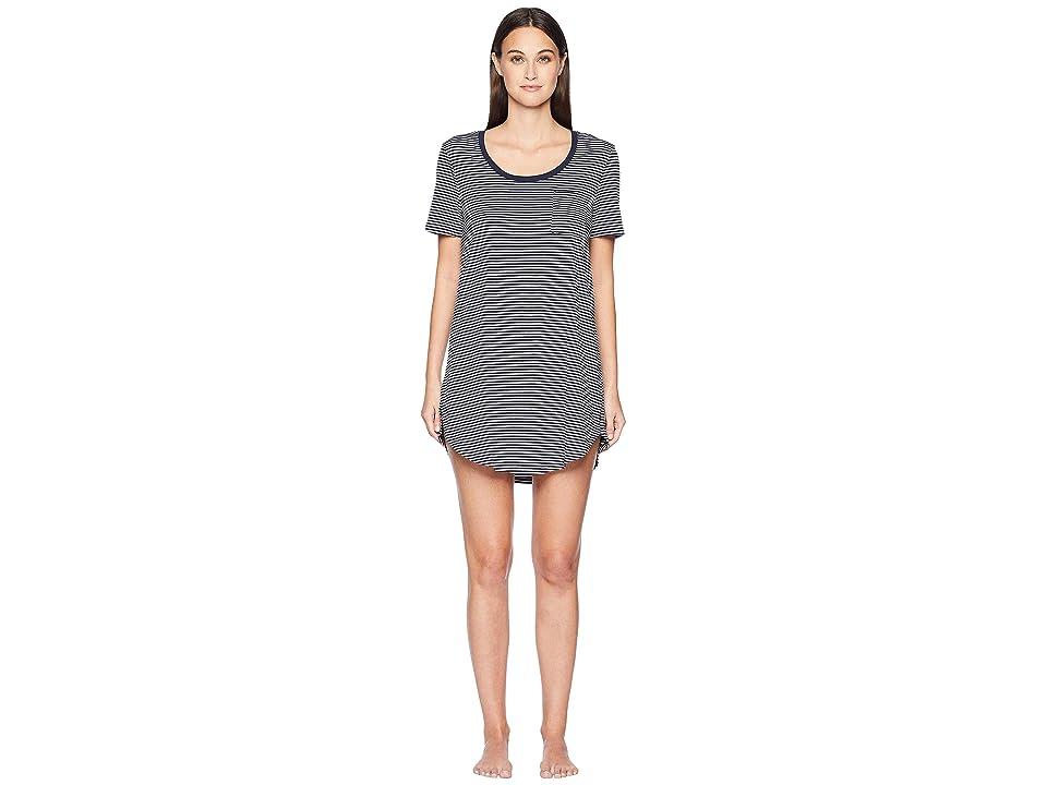 Skin Natural Skin 34 Marilyn Sleep Shirt (Heather Grey/Navy Stripe) Women