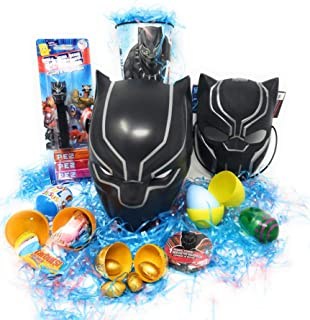 DIY Happy Easter Basket BLACK PANTHER Marvel Avengers Character Bucket Basket Kids Boys Girls Toddlers Birthday Get Well Just Because Gift Baskets Filled with Plush Stuffed Toy Toys Unique Themed Stuffers Egg Eggs Gifts Goodies Activities Artificial Grass Decorations Party Favors Bow Bag