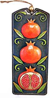 QPARTS Handmade Ceramic Pomegranate Wall Art, Green, Ceramic Art, Sculptural Ceramic Tile, Wall Hanging, Home Decor, Pastel Wall Decor, Gift for Home