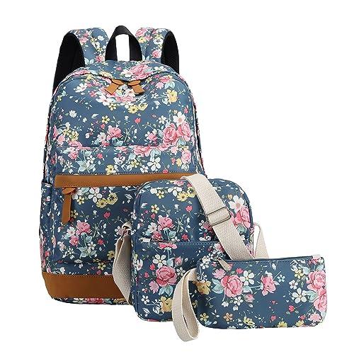 BLUBOON Girls Backpack School Bookbag Set Women Ladys Fashion Laptop Daypack (Floral Cyan)