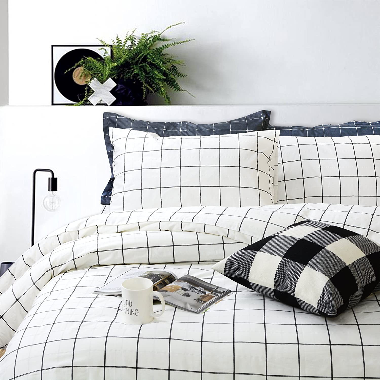 FADFAY Black NEW before selling and Max 48% OFF White Grid Cover Sets Cotton Duvet Lightweight