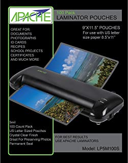 Apache Laminating Pouches, 5 mil (5mil, Letter, 100 Pack)