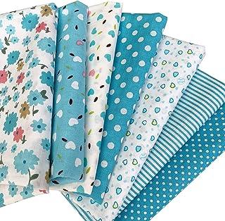 花柄 綿混紡 生地 DIY手芸用 カットクロス パッチワーク布 はぎれ 50×50cm 7枚セット (ブルー)