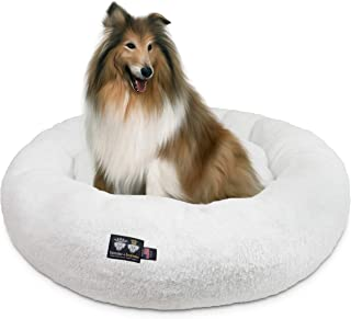 product image for Ultra Plush Deluxe Comfort Pet Dog & Cat White Snuggle Bed (Multiple Sizes) - Machine Washable, Made in The USA, Reversible, Durable Soft Fabrics